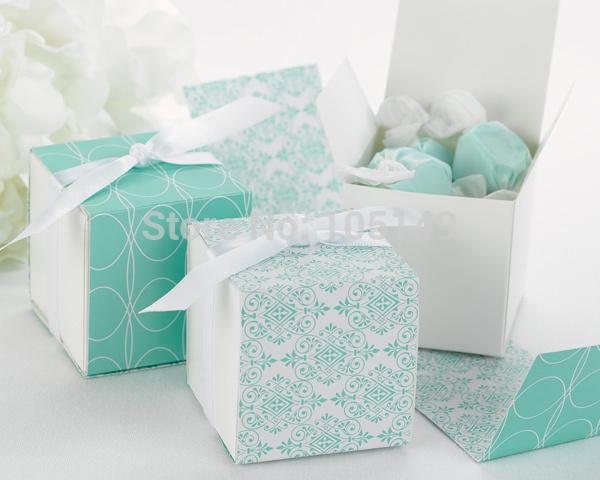 Top Quality New Design Favor box Reversible Aqua Damask Wrap Wedding Gift Boxes For Special Wedding favor 250PCS/LOT(China (Mainland))