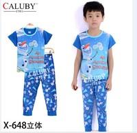 pajama clothes set fashion summer olaf cartoon solid cotton kids baby boys girls children pajamas clothing sets X-648