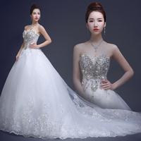 Luxury crystal a-line wedding dresses 2014 sweetheart long court train vestido de casamento ztc19