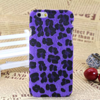 2014 new TPU Case for iphone 6 4.7 inch Ultrathin Simulation horsehair Plush Purple Leopard cover for iPhone 6 mobile phone case
