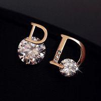 2014 zircon stud earring female ol fashion personalized asymmetrical sparkling  d earrings