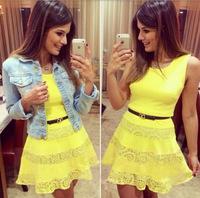 fashion summer sleeveless yellow lace casual mini women dresss party dresses