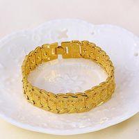 Classic 24k yellow gold filled Women's bracelet Watch Shape chain GF jewelry 20cm wide 1.6cm