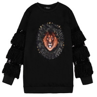 women's spring autumn Lions stitching sequins beaded sweater Puff  female oversize loose casual sweatshirts bottoming pullovers