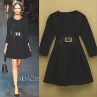 2014 fashion autumn and winter fashion ruslana korshunova slim elegant bow decoration plus size one-piece dress