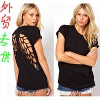 Fashion t shirt for women for laser backl ess angel wings t-shirt