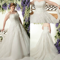 Fabulous Sweetheart Bridal Gown with Crystal Beading Long Train Income Organza Lace up Plus Size Wedding Dresses 2015 Appliques