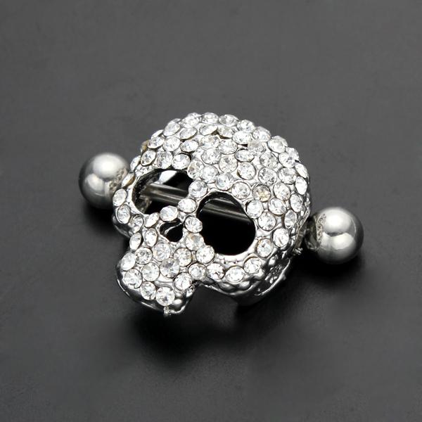 1pair lot hot sale sexy nipple rings skull jewelry nipple rings jewelry cheap body jewelry from