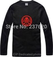 Free shipping Merry Christmas T shirt Hydra logo superhero captain American long sleeve t-shirt tees 100% Cotton 6 color