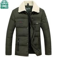 NianJeep 2015Turn Down Fur Collar Man's Down Parkas Coats,Solid Men's Brand Sports Jacket,Thickness Business Men Cardigan Coats
