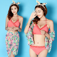 2015 sexy mid Waist print Bikini Swimwears solid lingerie M/L/XL 3 piece set Women Swimsuit maillot de bain bathing suits