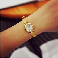 Sales Hot Fashion Golden Stainless Steel Strap Small Luxury Watches New Design Women Watch Women Dress Watches Free Shipping