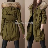 2014 new Winter Coat 100% real fur casual women's Hooded coats winter warm long jacket thermal outdoor wear down parkas
