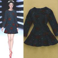Fashion 2014 autumn and winter fashion elegant slim dot embossed ruffle dress woolen dress one-piece dress