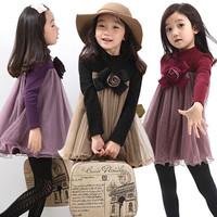 2015 Spring Children clothing girls Floral Long sleeve Lace dresses  new Korean girl princess dresses  3-8 years
