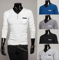 Free shipping NEW Special new men's  V neck sweater fake pocket knit backing long sleeve Size:M-XXL #ZJJ107