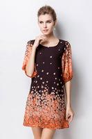 2015 new summer bohemian fashion women loose flower printing round neck half sleeve chiffon dress casual dress XL-4XL 2color
