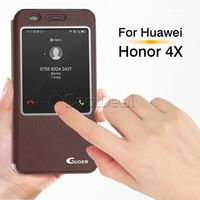 6 Color,Ultra-thin leather stand Cover case For Huawei Honor 4X Luxury Mobile Phone Bag & Touch screen Window