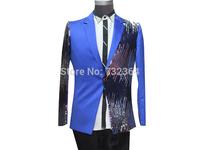 luxury sequins blue mens tuxedo suit jacket embroidery beading jacket stage performance