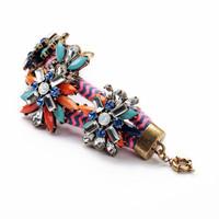 Multicolour Fashion Party Alloy Flower Vintage Acrylic Jewelry Handmade Women Charm Bracelets
