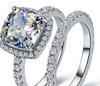 Lady's 925 Silver Filled Cushion-cut White Sapphire Stone CZ Pave Set Bridal Wedding Ring Set