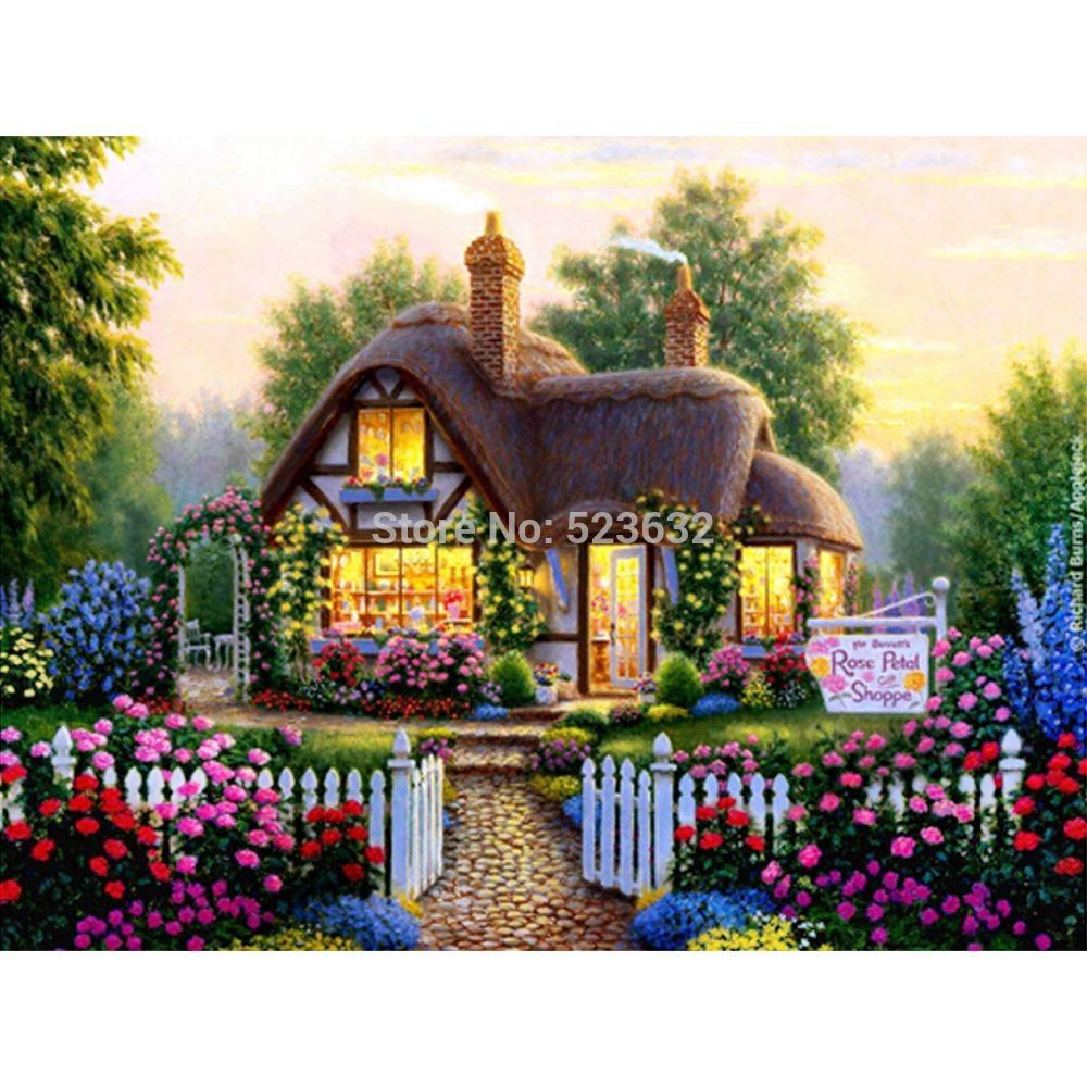Cabin 40 x 30 DIY diamond painting resin square diamond cross stitch full embroidery knitting home Kits(China (Mainland))