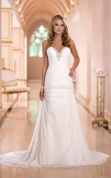 Vestido де Noiva 2015 романтический платье белый / слоновая кость свадебные платья шифон свадебное платье Vestido де Casamento одеяние де Mariage