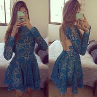 2015 Fashion Women Long Sleeve Flower Lace Dress Backless O-neck Brand Mini Evening Party Dress Vestidos S-XL Free Shipping