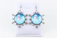 New Style Frozen Snowflake Earrings Movie Cosplay Elsa&Anna Glass Dangle Earring Fashion Jewelry For Women Children Gift c10