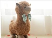 30cm brown Alpaca plush toy lovely bowtie alpaca doll , birthday gift p3045