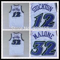 Fast Free Shipping Rev Embroidery Retro Jersey #12 John Stockton / #32 Karl Malone Basketball Jersey For Man