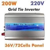 200W MPPT Grid Tie Inverter for 36V 72Cells 190V-260V AC 15-60vdc  Micro On Grid Tie Inverter pure sine wave inverter