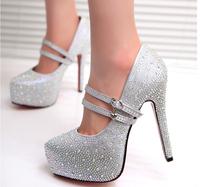 prom heels wedding shoes women high heels crystal high heel shoes woman platforms silver rhinestone platform pumps