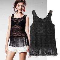 2015 European Style Women T-shirts Black Lace Hollow Out Fringe Vest O-neck Harnesses Summer Famous Brand Tops Blouse CL2131