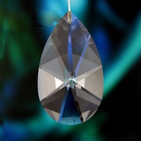 Free Shipping Wholsale 76mm Transparent Hanging Crystal Almond Drop Prisms Lamp Parts