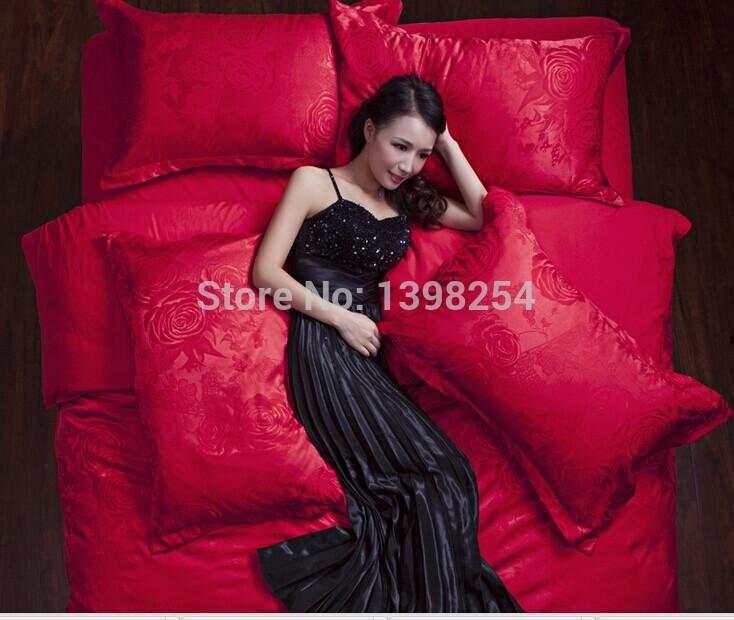 Grátis frete algodão jacquard de cetim 4 pcs Noble rei Silk bedding set / Silk duvet cover / seda conjunto de consolador / roupas de cama lençol(China (Mainland))