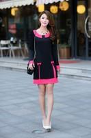 2015 brand new antumn winter fashion women silm bow peter pan collar casual dress work dress women clothing plus size XL-4XL