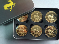 Wholesale 300 pcs Mix of 1967 1972 2008 2009 2010 2012 1 oz krugerrand gold plate coin + krugerrand tin box