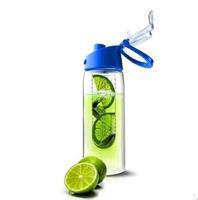 wholesale 60pcs/lot New Stylish Sport High Quality Tritan Plastic Fruit Juice Infuser 600mL Water Bottle Flip Lid Bike Travel
