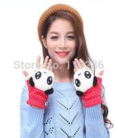 free shipping Hot-selling winter three-dimensional cartoon panda head women's gloves liner plus velvet thermal mitring