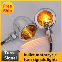 2x Chrome Bullet Turn Signals Lights for Motorcycle/Chopper/Bobber/Cruiser