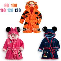 2014 Winter & Autumn Children's Cartoon Bathrobe Coral Fleece Baby Bath Robe Boys& Girls Coral velvet Robes Kid Bath Towel