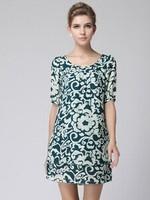 2015 new spring summer Elegant women printing short sleeve O neck casual dress fashion dress party dress plus size XL-4XL 3color