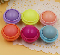 2015 Brand New Round Style Smooth Moisturizing Fruit Flavor Organic Natural Lip Balm Ball Makeup Lip Care