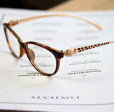 eyeglass glasses 9188 retro diamond leopard head metal legs super fairy lady plain wholesale funds(China (Mainland))