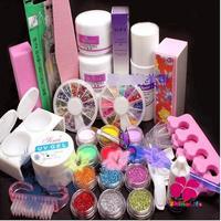 New Pro 32pcs/set Pink White Clear Crystal Powder Buffer Block Nail Acrylic Glitter Powder Glue Nail Art Rhinestone Tools Set