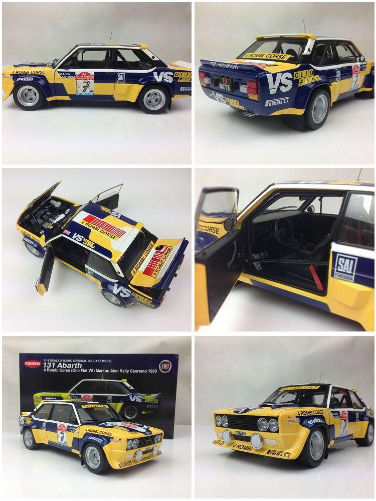 1:18 KYOSHO 131 Abarth 4 Rombi Corse Olio Fiat VS Markuu Alen Rally Sanremo 1980 Diecast Metal Model(China (Mainland))