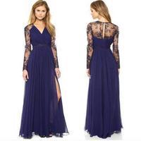 Sexy Elegant Women Dresses Lady V Neck Chiffon Split Lace Long Sleeve Maxi Long Party Evening Cocktail Dress Vestidos