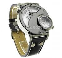 GMT Sports Watch for Men Navigator shape Quartz watches Luxury brand Casual watch Leather wristwatch OULM watch