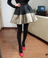 New 2015 Fashion brand Winter Women skirts Pleated pu black golden ball Gown short skirt